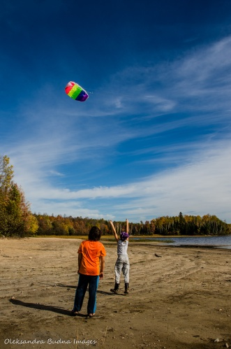 flying a kite in Restoule Provincial Park