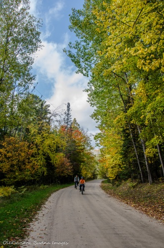 biking in Restoule in the fall
