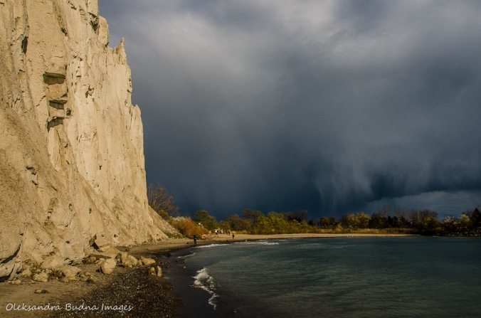 dramatic clouds over Lake Ontario and Scarborough Bluffs