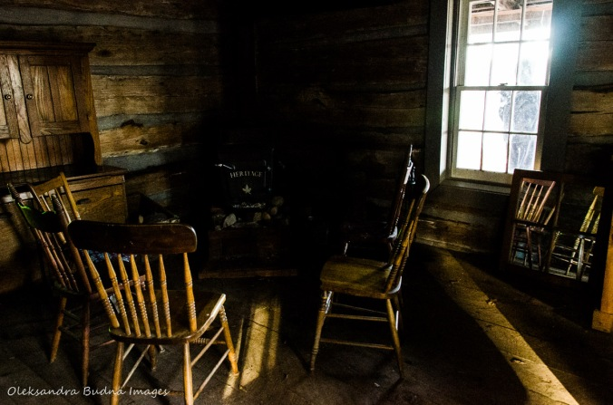 inside Settler's Cabin at Elliott Tree Farm