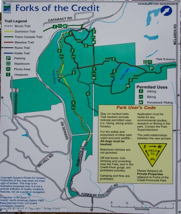 map of Forks of the Credit Provincial Park