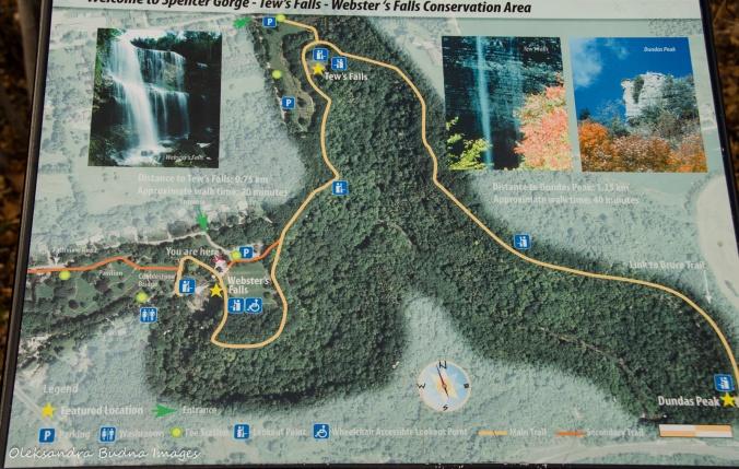 map of Spencer Gorge/Webster's Falls