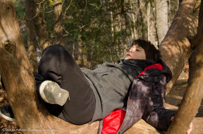 child lying on a tree branch
