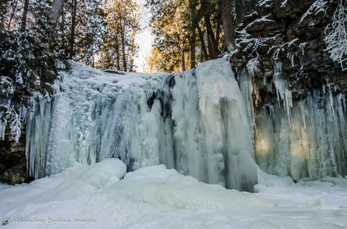 frozen waterfall at Hilton Falls Conservation Area