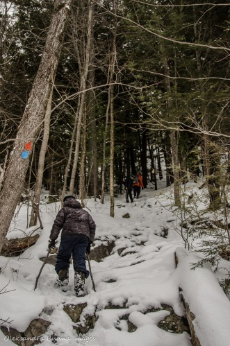 hiking the trail to the Crack in Killarney in the winter