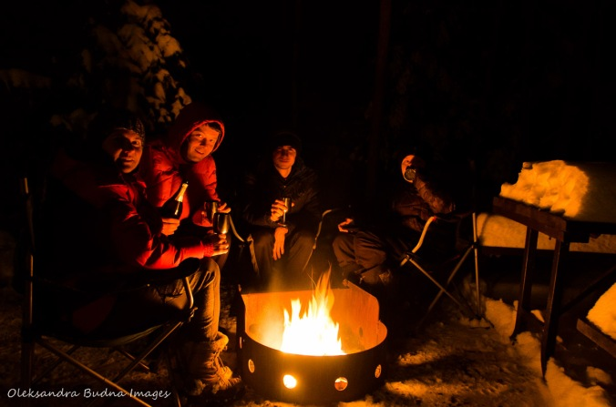 celebrating New Year around a campfire in Killarney