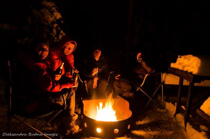 celebrating New Year around a campfire in Killarney