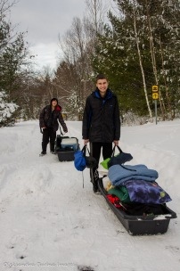 transporting gear on a sled in Killarney