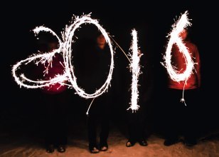 2016 written in sparklers