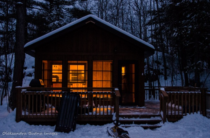 camp cabin in Killarney at night