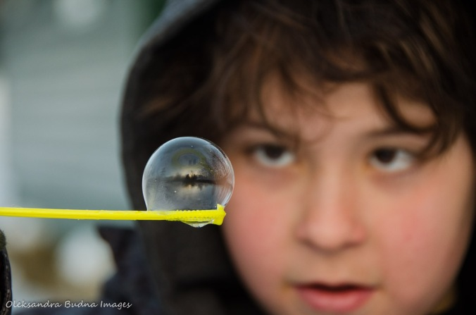 blowing bubbles in the winter