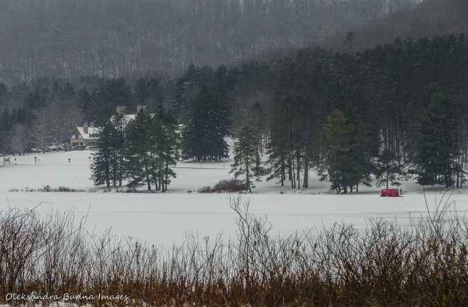 red house lake in the winter in Allegany State Park