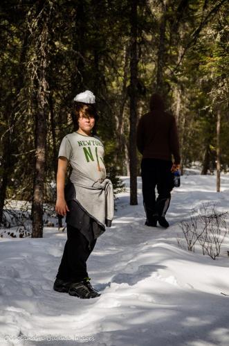 hiking Spruce Boardwalk in Algonquin in the winter