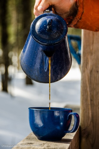 pouring coffee outside