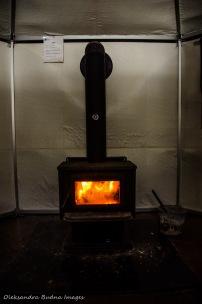 wood stove in the yurt at Silent Lake PP