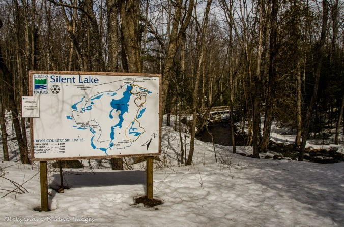 ski trails map at Silent Lake Provicial Park in the winter