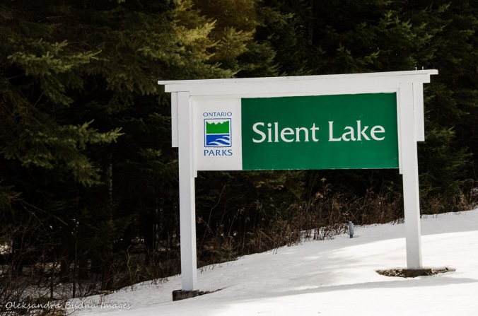 Silent Lake Provincial Park sign