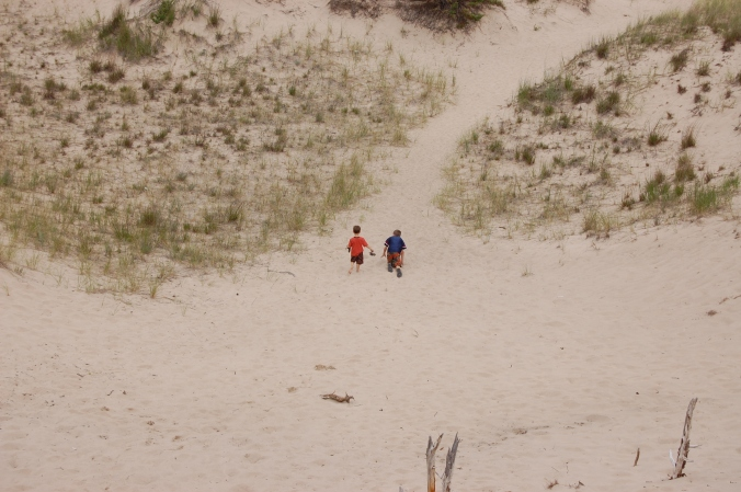 kids in the dunes
