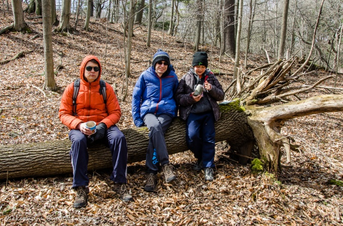 taking a break while hiking at Dundas Valley Conservation Area