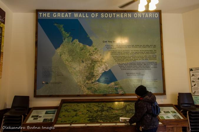 map of Niagara Escarpment at Dundas Vallley visitor cenre
