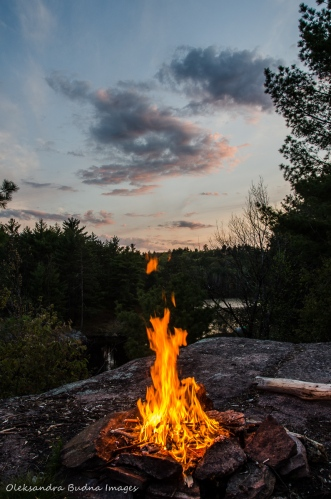 campfire at sunset at Queen Elizabeth II Wildlands