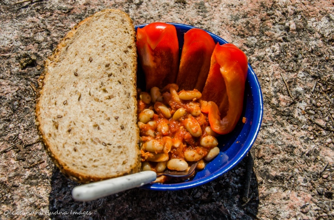 camping meal: beans and bread