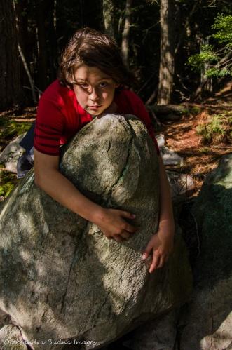 lying on the rock