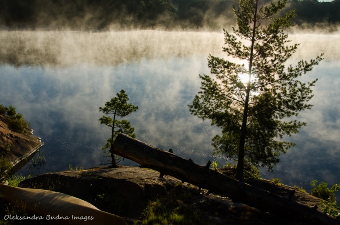 misty morning on Terry Lake in Killarney
