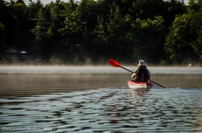 kayaker on Carlyle Lake in Killarney