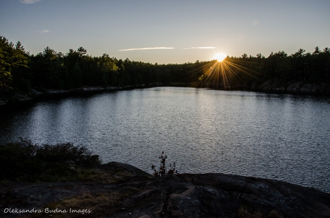 sunset on Terry Lake in Killarney