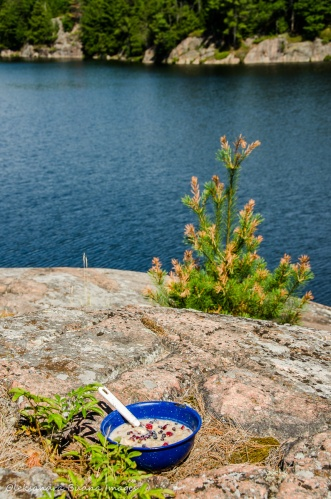 oatmeal and view from site 56 on Terry Lake in Killarney