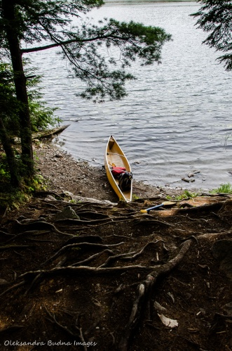 canoe on Kakakise Lake at the end of portage from Terry Lake