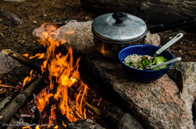 ramen noodles near the campfire