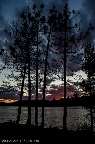 sunset view from site 115 on Balsam Lake in Killarney