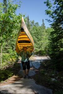 portaging a canoe