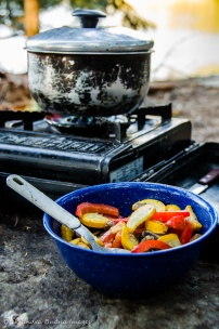 camping meal: roasted vegetables