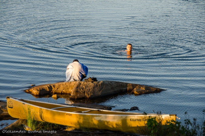 swimming near site 110 on Boundary lake in Killarney