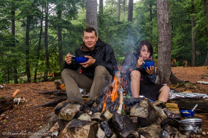 eating around the campfire