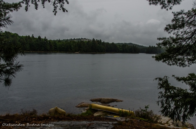 View of Boundary Lake from site 110 in Killarney on a rainy day