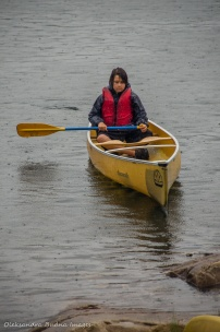 canoeing on Boundary lake in killarney on a rainy day