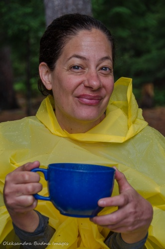 drinking coffee at the campsite
