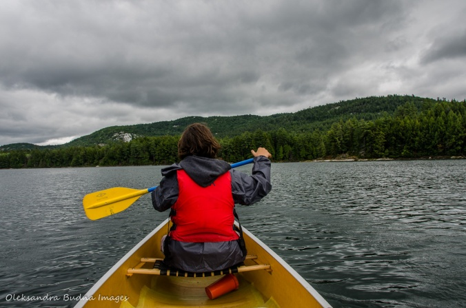 paddling on Boundary Lake in Killarney