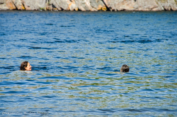 swimming in Mazinaw Lake