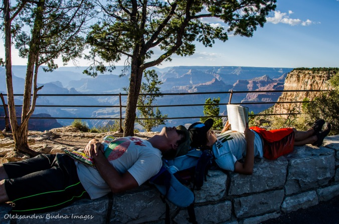 taking a break a Grand Canyon