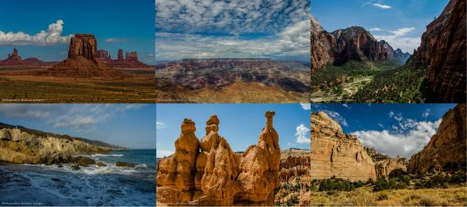 Monumnt Valley, Grand Canyon, Zion, Leo Carillo, Bryc Canyon, Capitol Reef