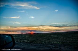 Sunset on the road somewhere in Nebraska