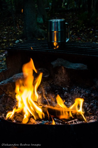 campfire and cup of coffee