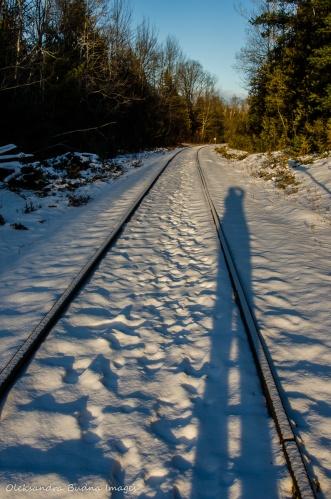 rail tracks crossing Bruce Trail near Devil's Pulpit