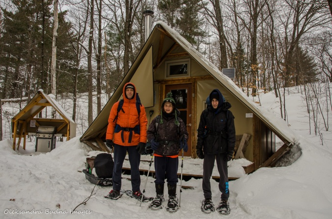 in front of a four-season tent in Gatineau park