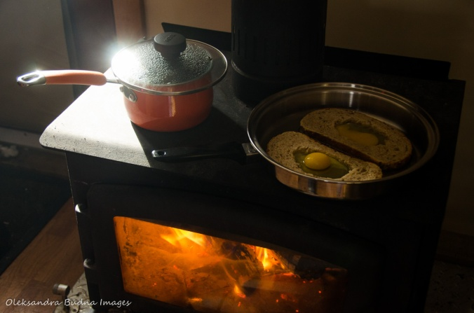 cooking on a wood stove at four-seasons tent in Gatineau Park